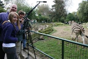 students filming at Newquay Zoo